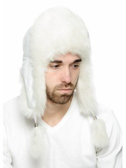 Unisex white din blana naturala