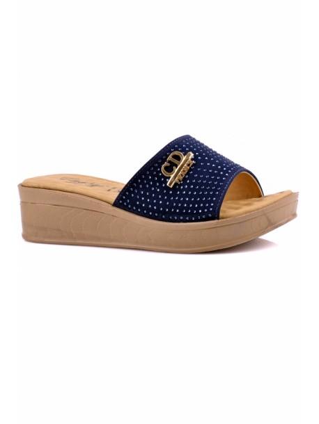 Papuci cu talpa ortopedica albastri cu pietre