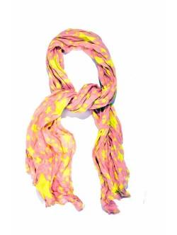 Esarfa de dama roz cu stelute in culoare galben aprins