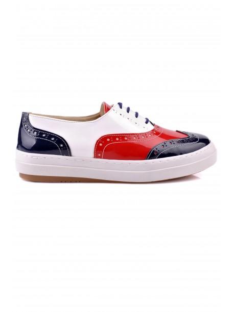Pantofi de dama Klark in albastru si alb