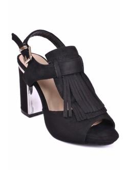 Sandale cu ciucuri Yana negri