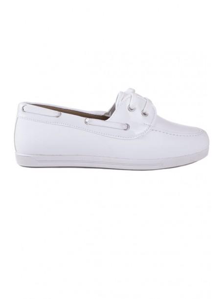 Pantofi albi cu talpa joasa