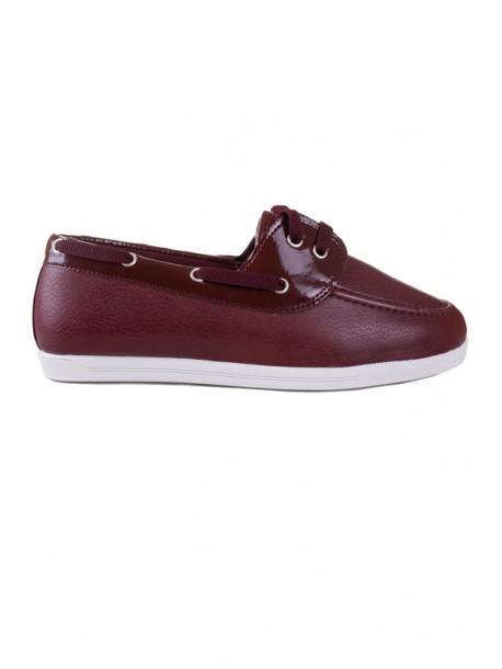 Pantofi bordo cu talpa joasa
