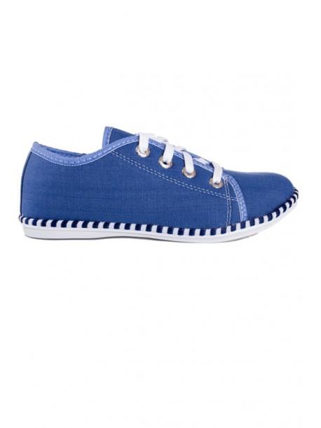 Pantofi din material de blugi in nuanta deschisa