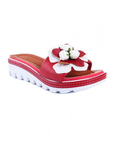Papuci cu talpa ortopedica rosi cu flori