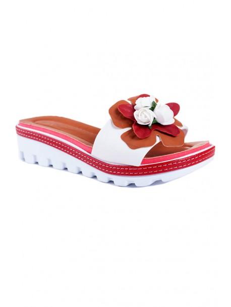 Papuci cu talpa ortopediaca in alb cu flori