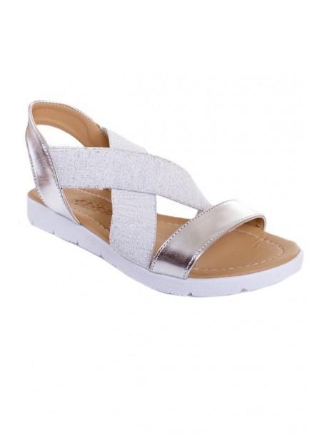 Sandale argintii cu elastic