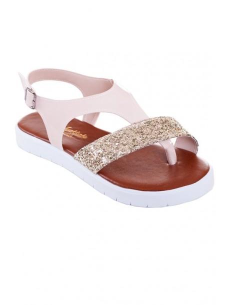 Sandale crem cu brocat