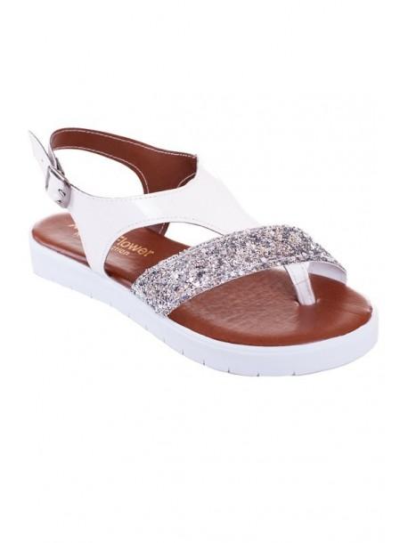 Sandale albe cu brocat