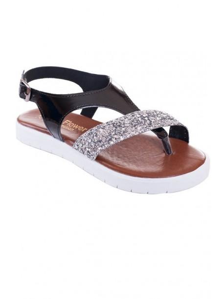 Sandale negre cu brocat