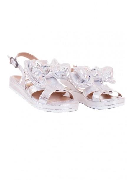Sandale argintii cu fundita