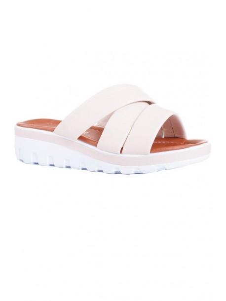 Papuci culoare crema - platforma