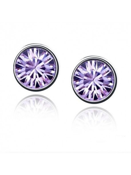 Cercei Violeta cu cristal si auriu placat