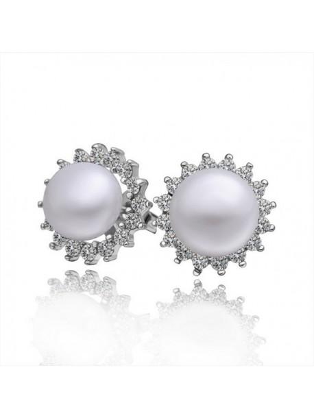 Cercei cu perle si zirconiu