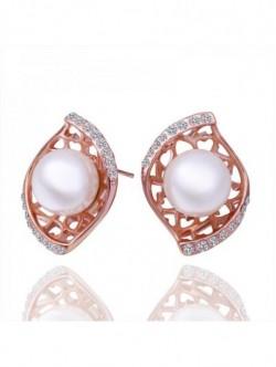 Cercei perla si zirconiu