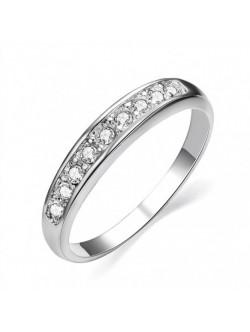 Inel auriu alb si diamante
