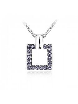 Colier patrat cu cristale lila