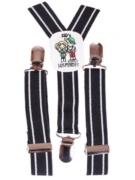 Bretele de copii - dungi pe negru si alb