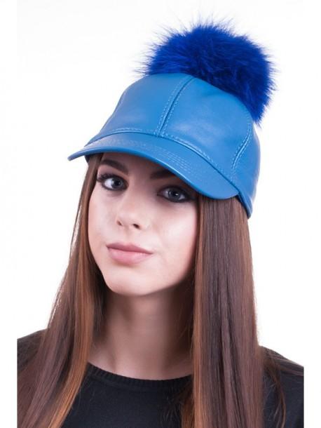 Caciula albastra cu cozoroc din piele naturala