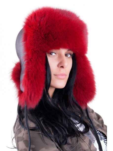 Caciula ruseasca din vulpe - rosu