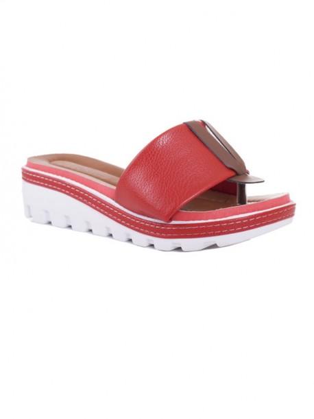 Papuci de dama cu talpa ortopedica Klarisa rosu