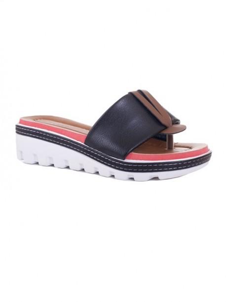 Papuci de dama cu talpa ortopedica Klarisa negru