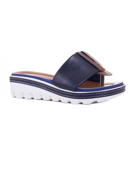 Papuci de dama cu talpa ortopedica Klarisa albastru