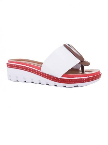 Papuci de dama cu talpa ortopedica Klarisa alb