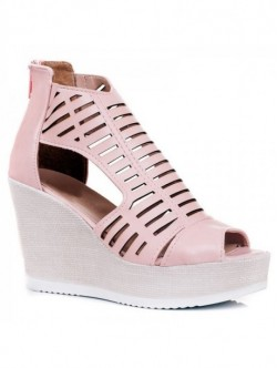 Sandale inalte culoare pudra