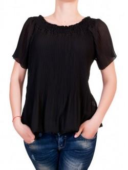 Bluza neagra pliata cu maneca scurta