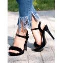 Sandale inalte cu puf negru