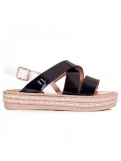 Sandale cu platforma plata - negru