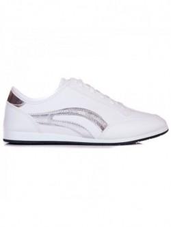 Adidasi de dame albi cu insertii argintii
