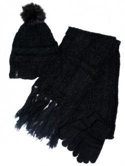 Caciula fular si manusi negru