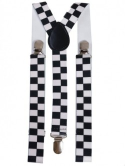 Bretele cu patratele- alb negru