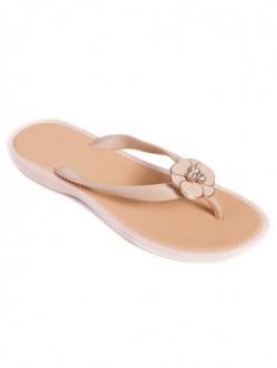 Papuci silicon de dama - crem