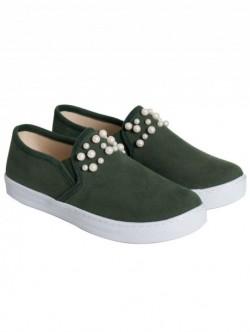 Pantofi mici cu perle - verde