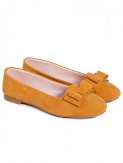 Pantofi cu panglica - mustar