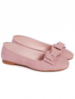Pantofi cu panglica-roz pudra