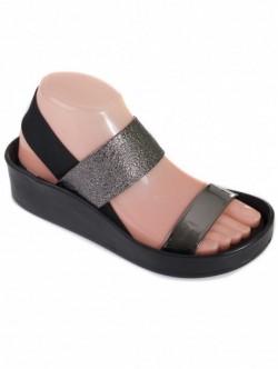 Sandale de damă cu bandă elastică - metalici