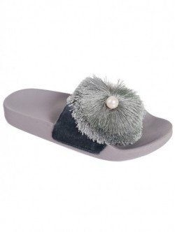 Papuci negri cu perla - gri