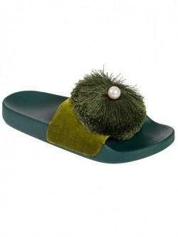 Papuci negri cu perla - verzi
