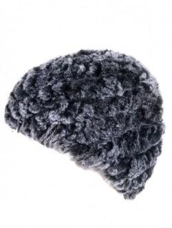 Sapca de dama crosetata cu piele de chinchila de iarna