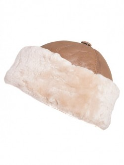 Caciula de dama din piele naturala -bej