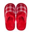 Pantofi de casa de dama in carouri - rosii
