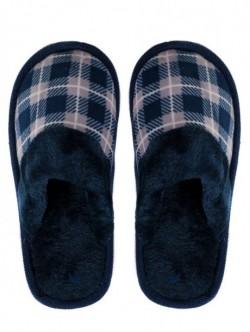 Pantofi de casa de dama in carouri - albastrii