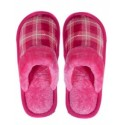 Pantofi de casa de dama in carouri - roz