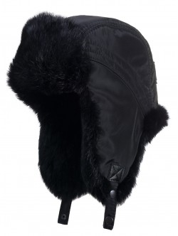 Caciula din blana de iepure - culoare negru