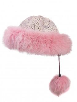 Caciula de dama din piele - culoare roz
