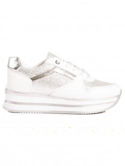 Pantofi sport de dama cu platforma - alb